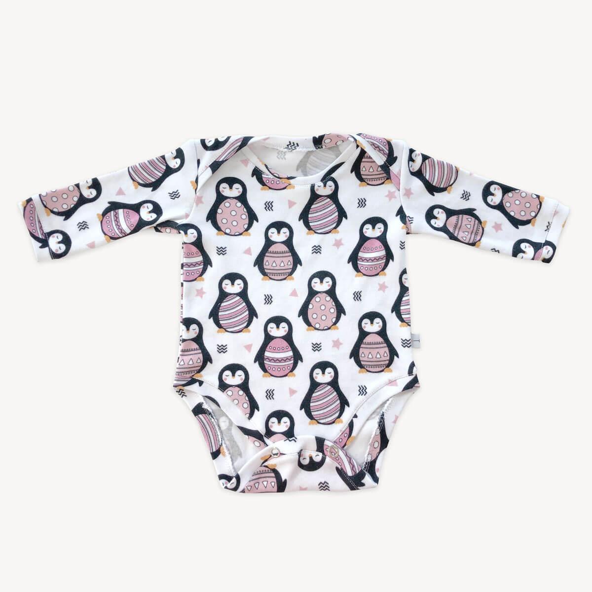 body mameluco de pingüinos rosas